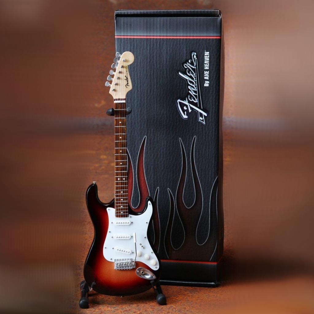 Miniatur Gitarre Fender Stratocaster Classic Sunburst inklusive Case und Ständer