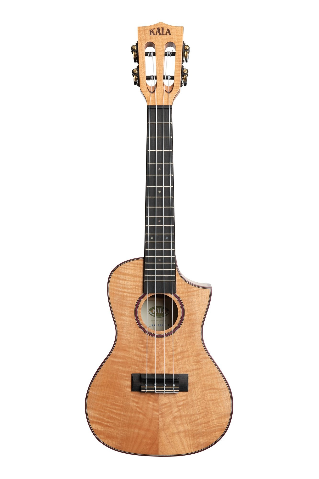 Kala Solid Flame Maple Concert Ukulele, with Cutaway and Case