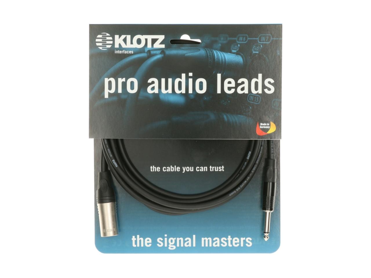 Klotz M1 Audiokabel XLR male an 6,3mm Klinke 2m