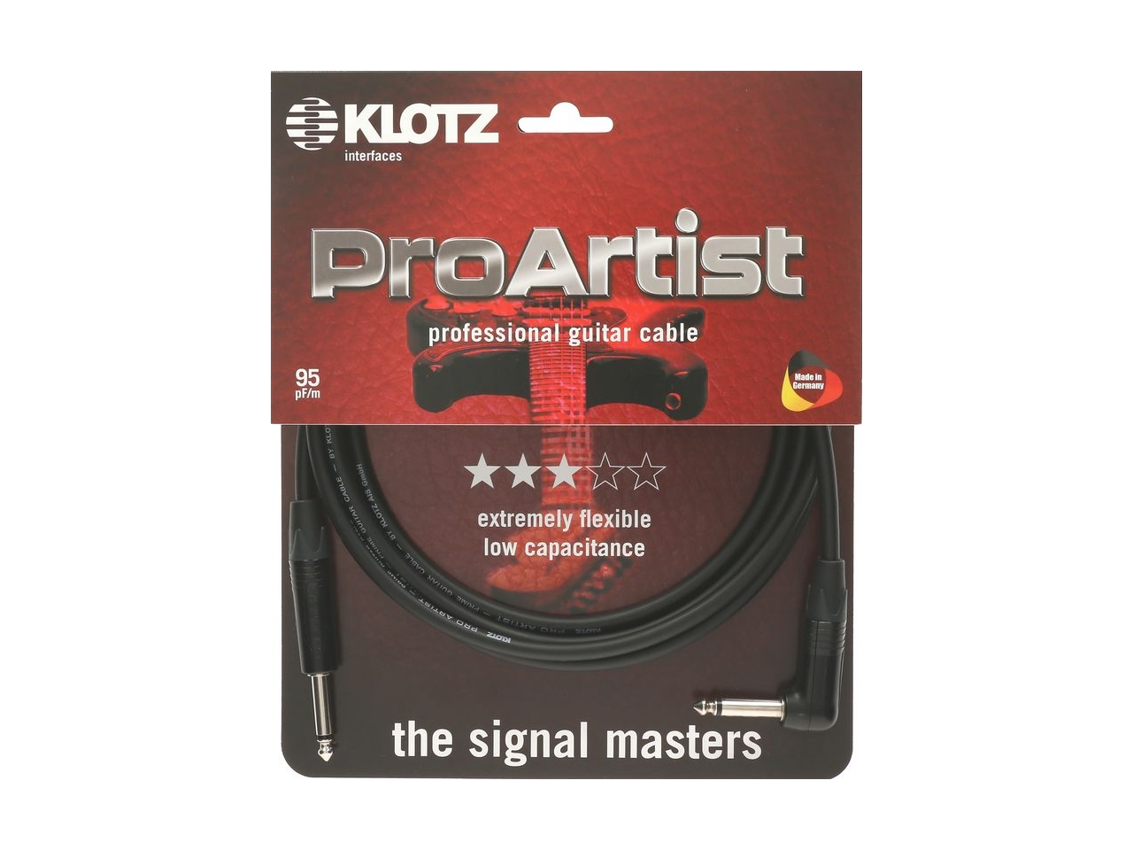 Klotz PRO ARTIST Instrumentenkabel Winkelstecker 6m