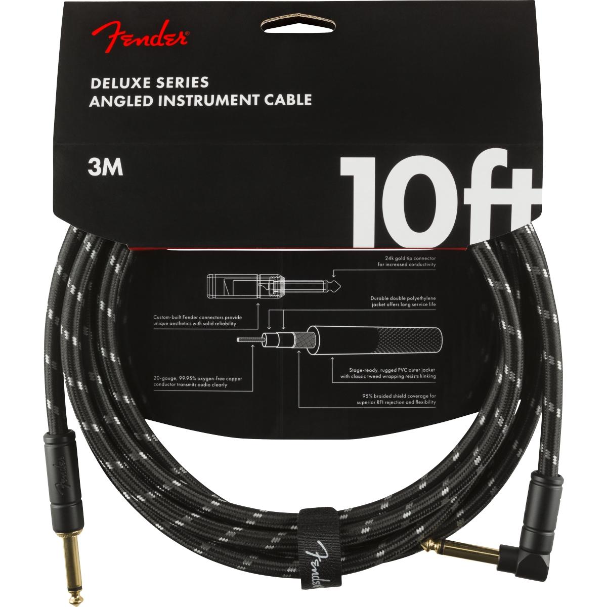 Fender Deluxe Series Instrumentenkabel black tweed 3m Winkelstecker