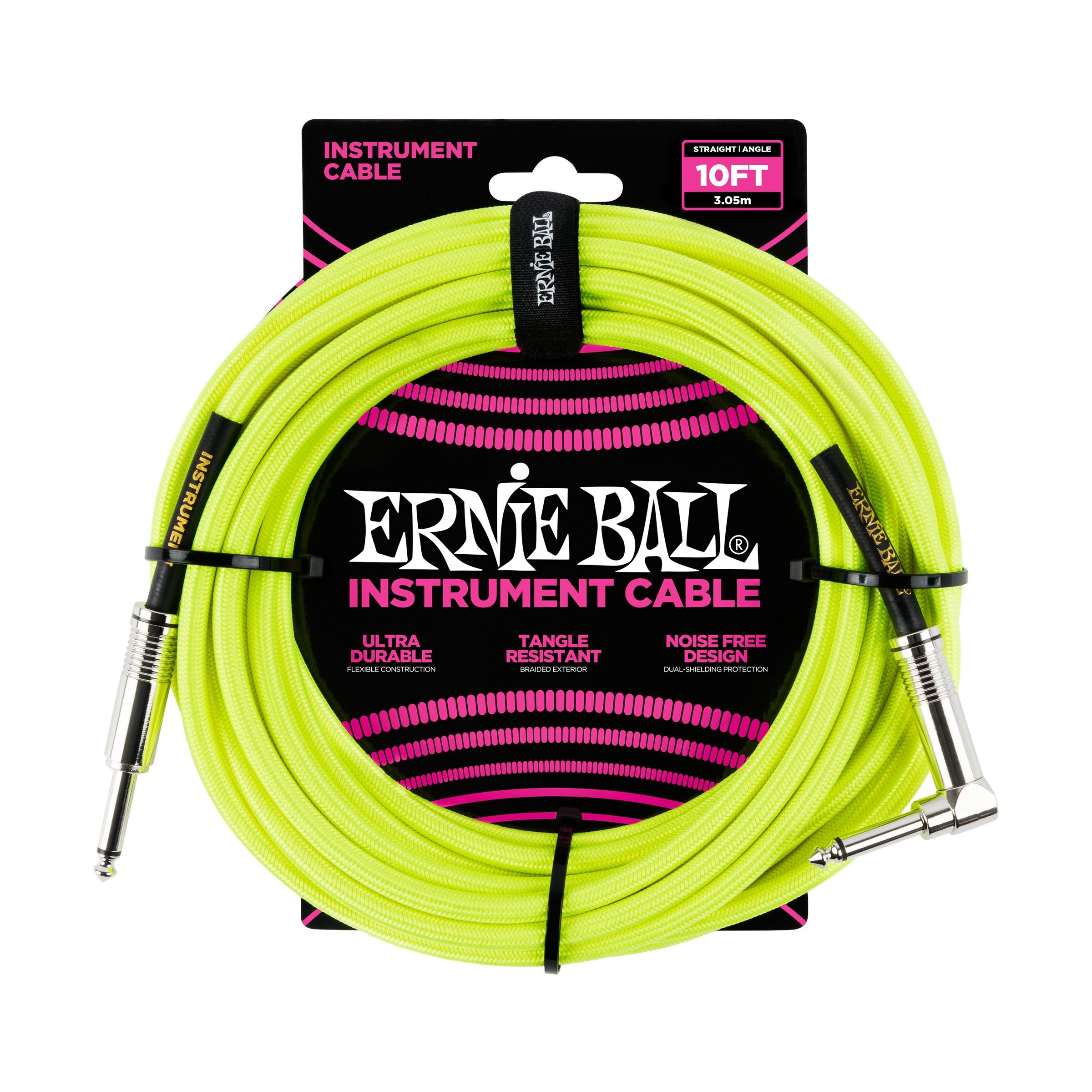 ERNIE BALL Instrumentenkabel, Gewebe, gerade/gewinkelt, gelb, 3m
