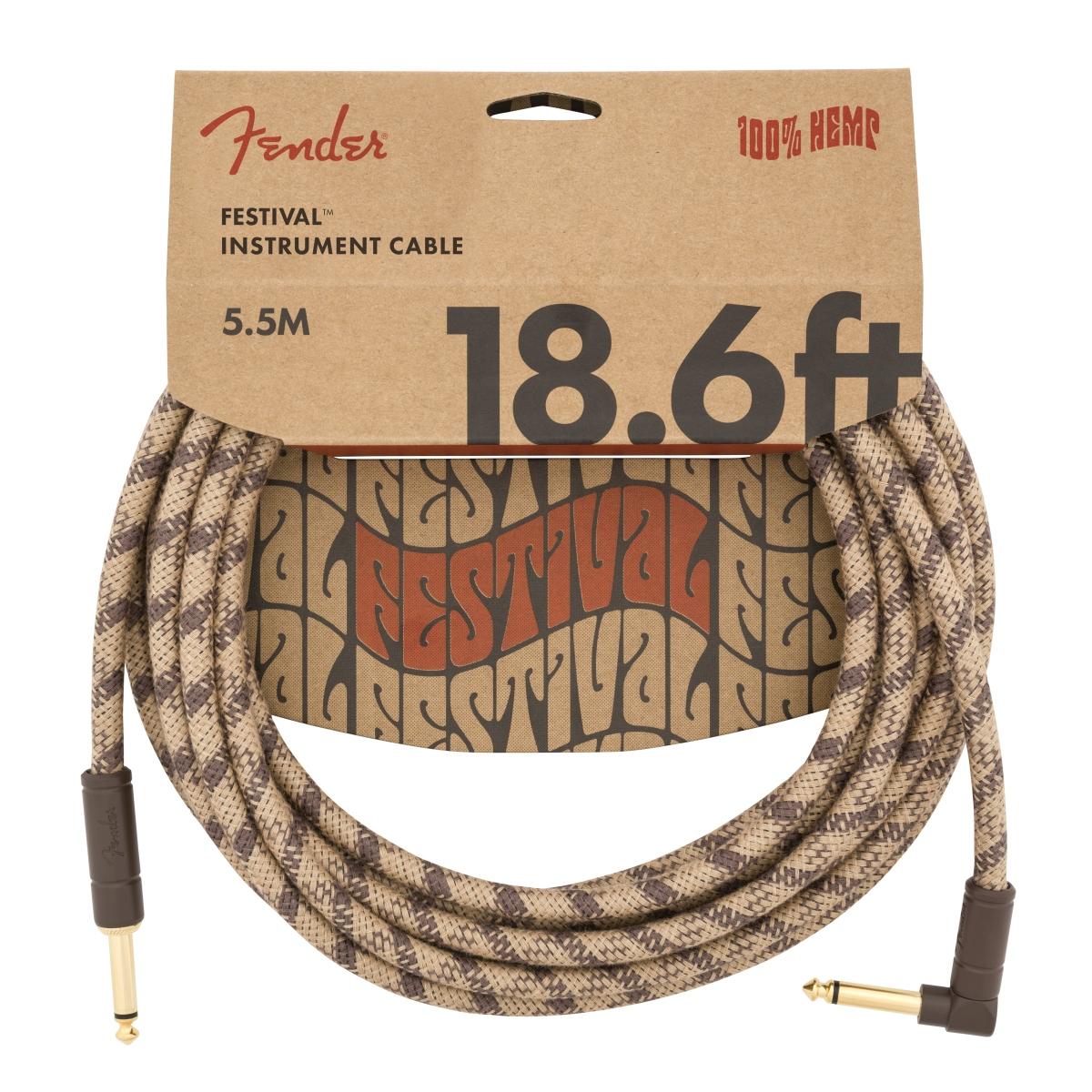 Fender Angled Festival Instrumenten Kabel, Pure Hemp, braun 5,5m