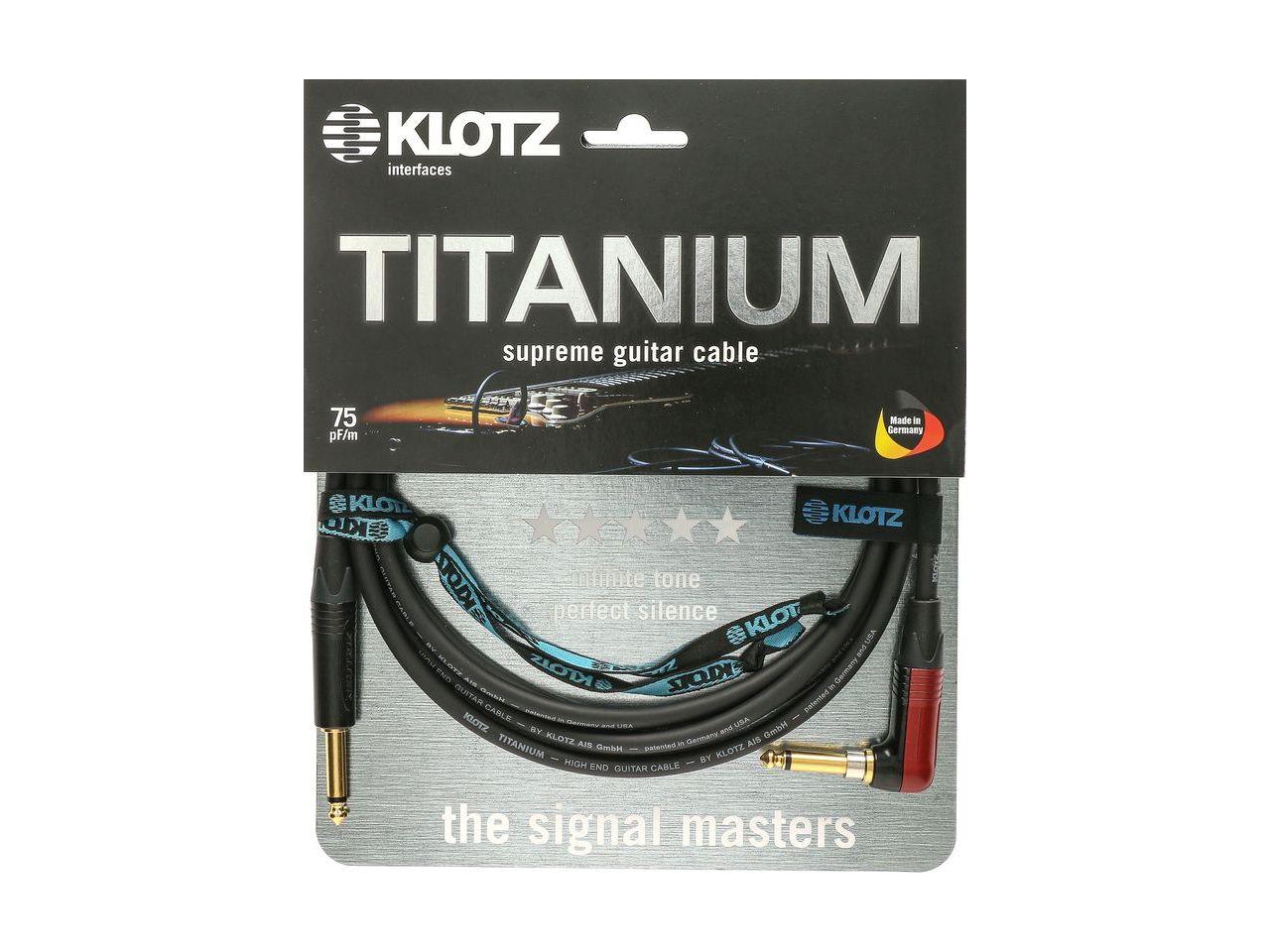 Klotz Titanium Supreme Gitarrenkabel mit Silent Plug Winkelstecker 4,5m