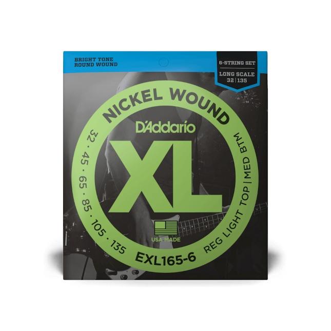 D'Addario EXL165-6 Nickel Wound Bass Custom Light 32-135 Long Scale