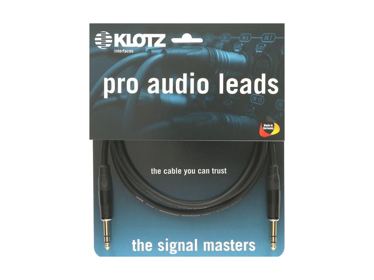 Klotz Kabel 6,3 Klinke Stereo an 6,3 Klinke Stereo 3m