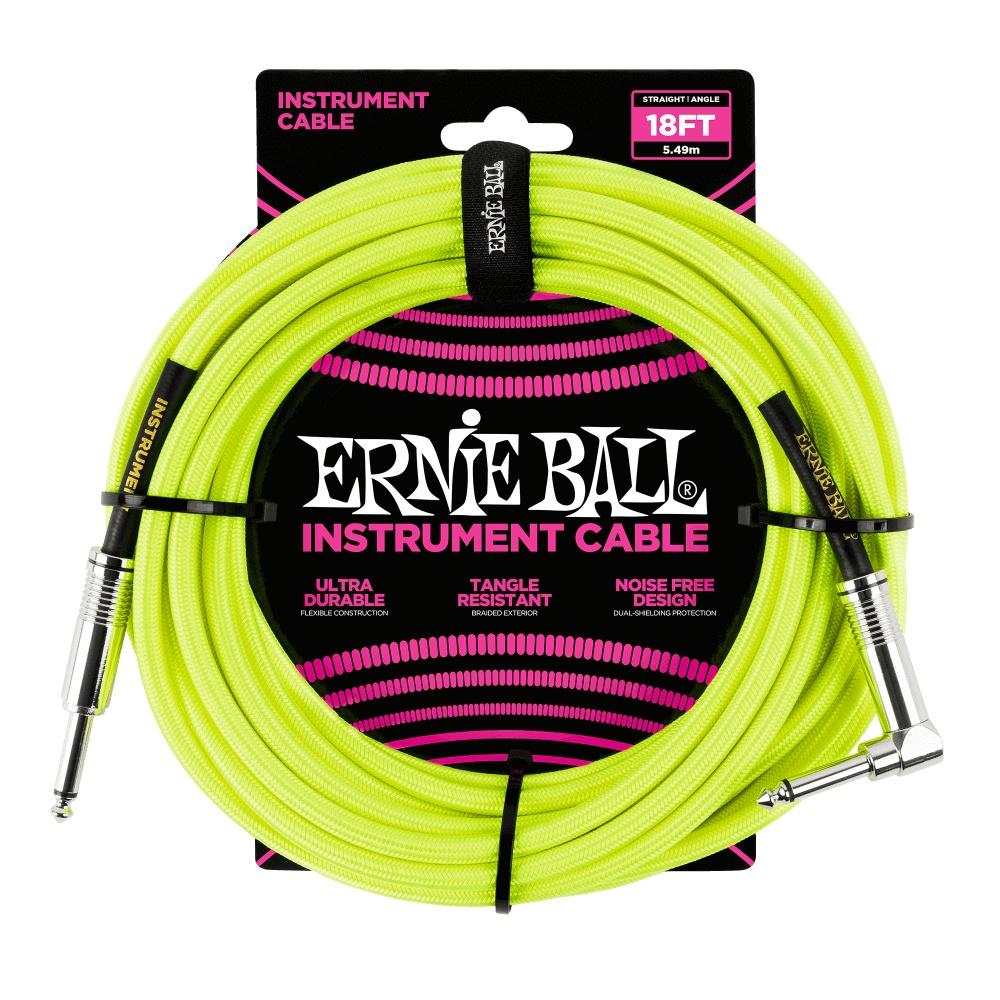 ERNIE BALL Instrumentenkabel, Gewebe, gerade/gewinkelt, gelb, 5,5m