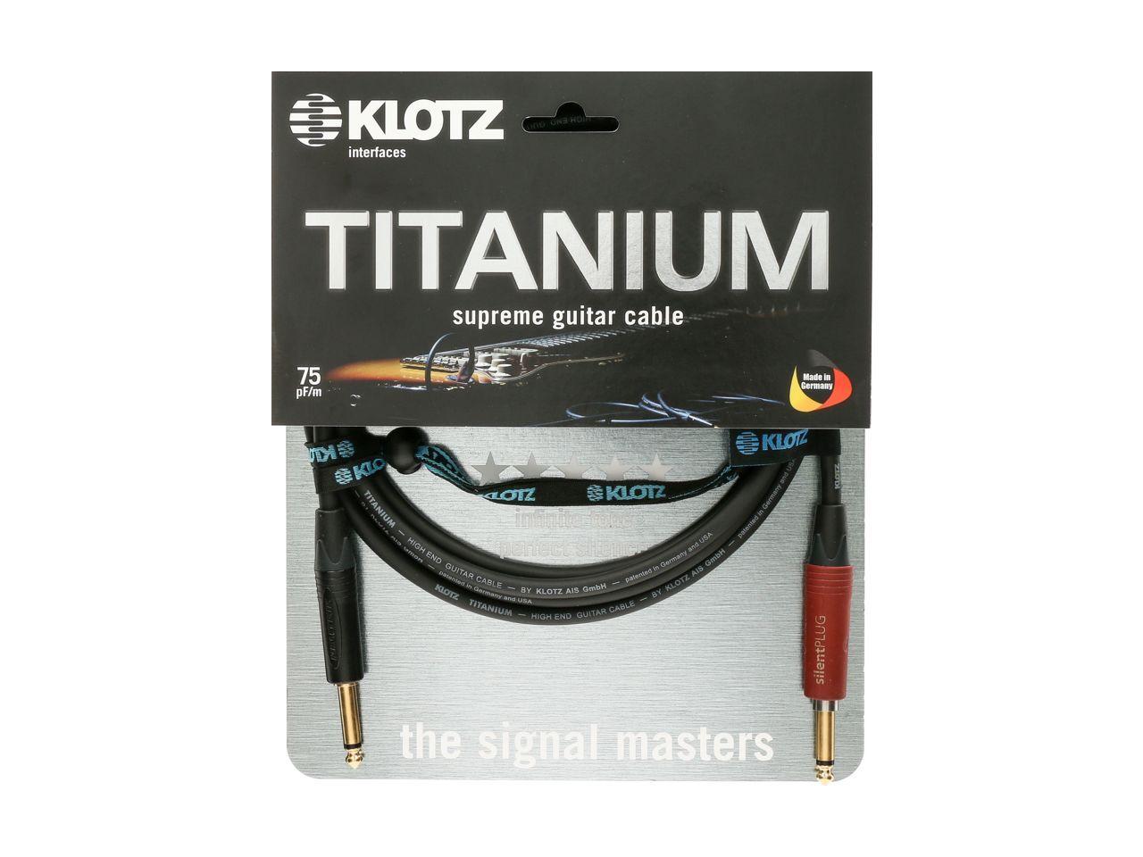Klotz Titanium Supreme Gitarrenkabel mit Silent Plug gerade 3m