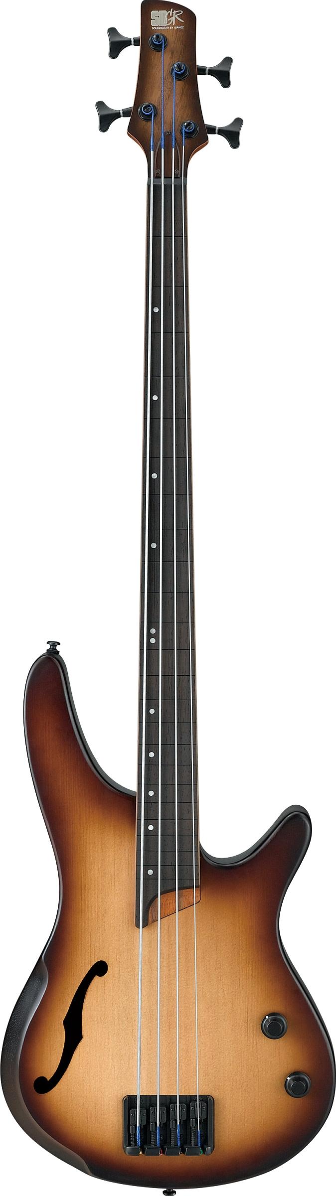 Ibenez SRH500F-NNF Hollow E-Bass Fretless Natural Browned Burst Flat