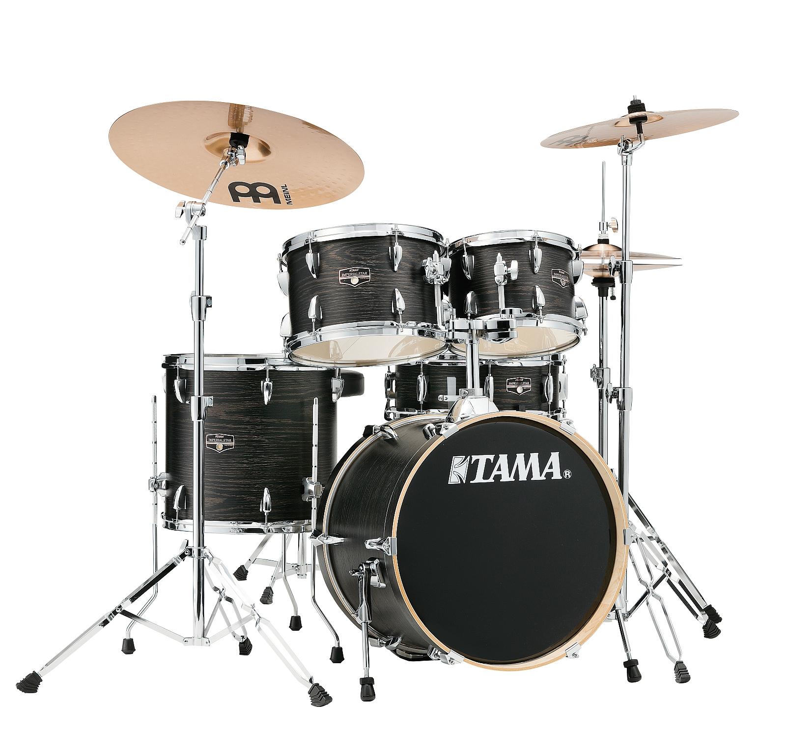 TAMA Imperialstar Drumset 5 teilig Black Oak Warp + MEINL HCSB Beckenset