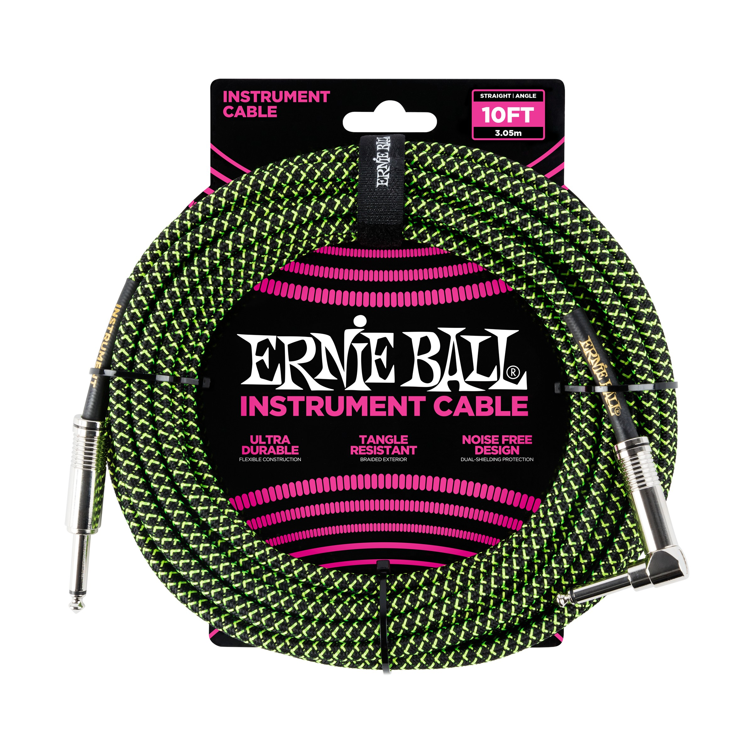 ERNIE BALL Instrumentenkabel, Gewebe, gerade/gewinkelt, schwarz/grün, 3m