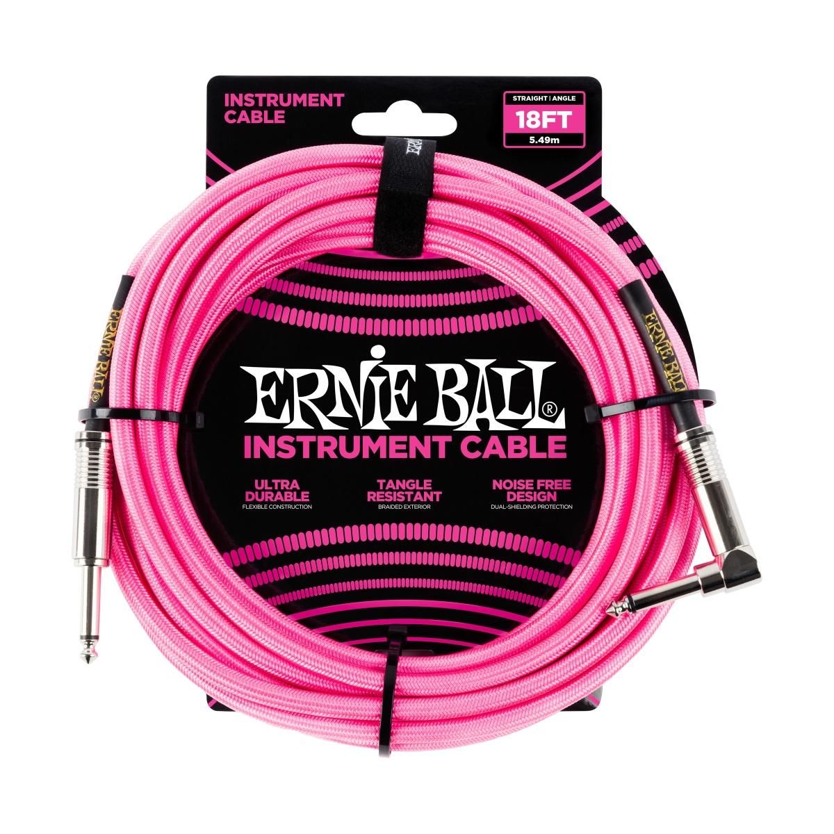 ERNIE BALL Instrumentenkabel, Gewebe, gerade/gewinkelt, neonpink, 5,5m