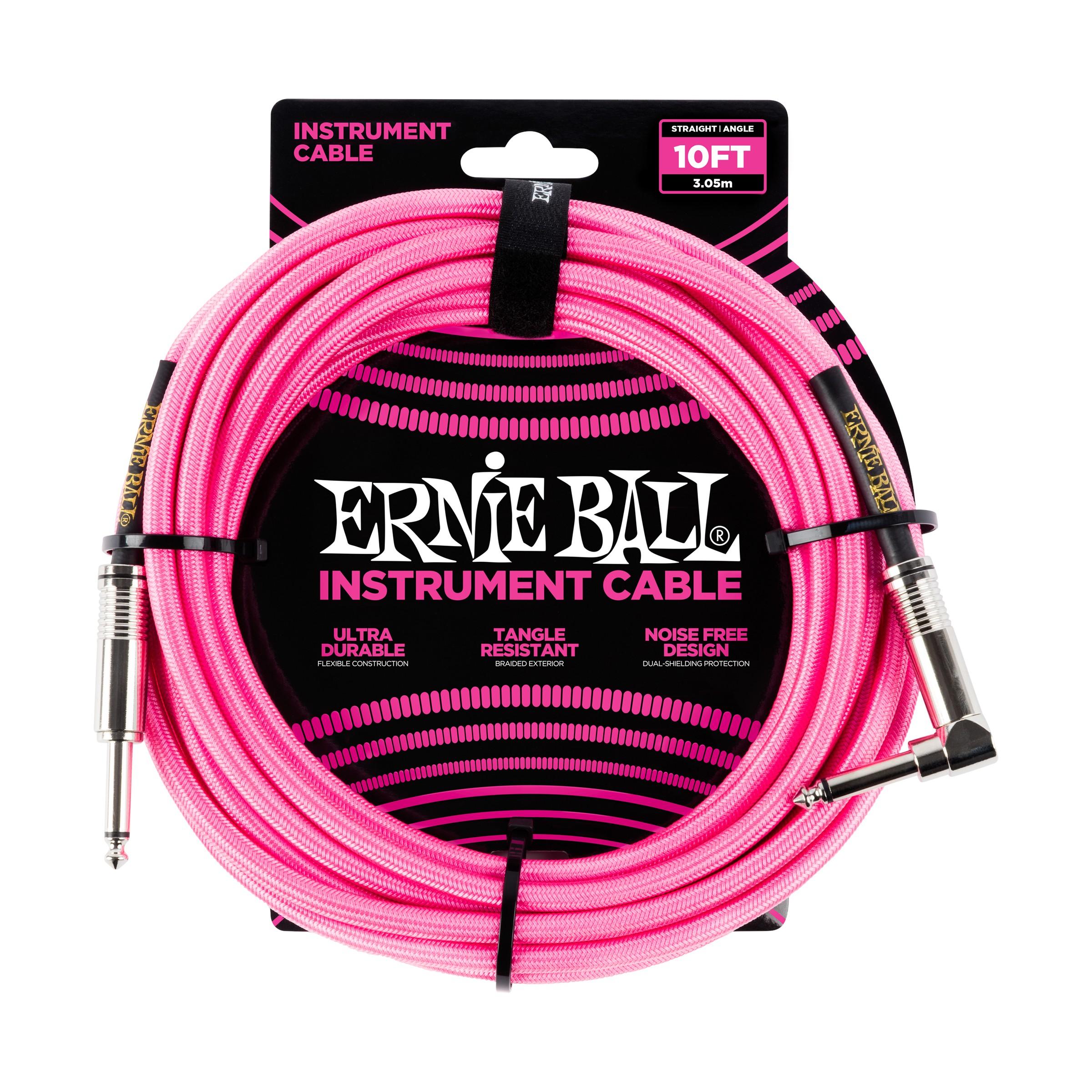 ERNIE BALL Instrumentenkabel, Gewebe, gerade/gewinkelt, neonpink, 3m