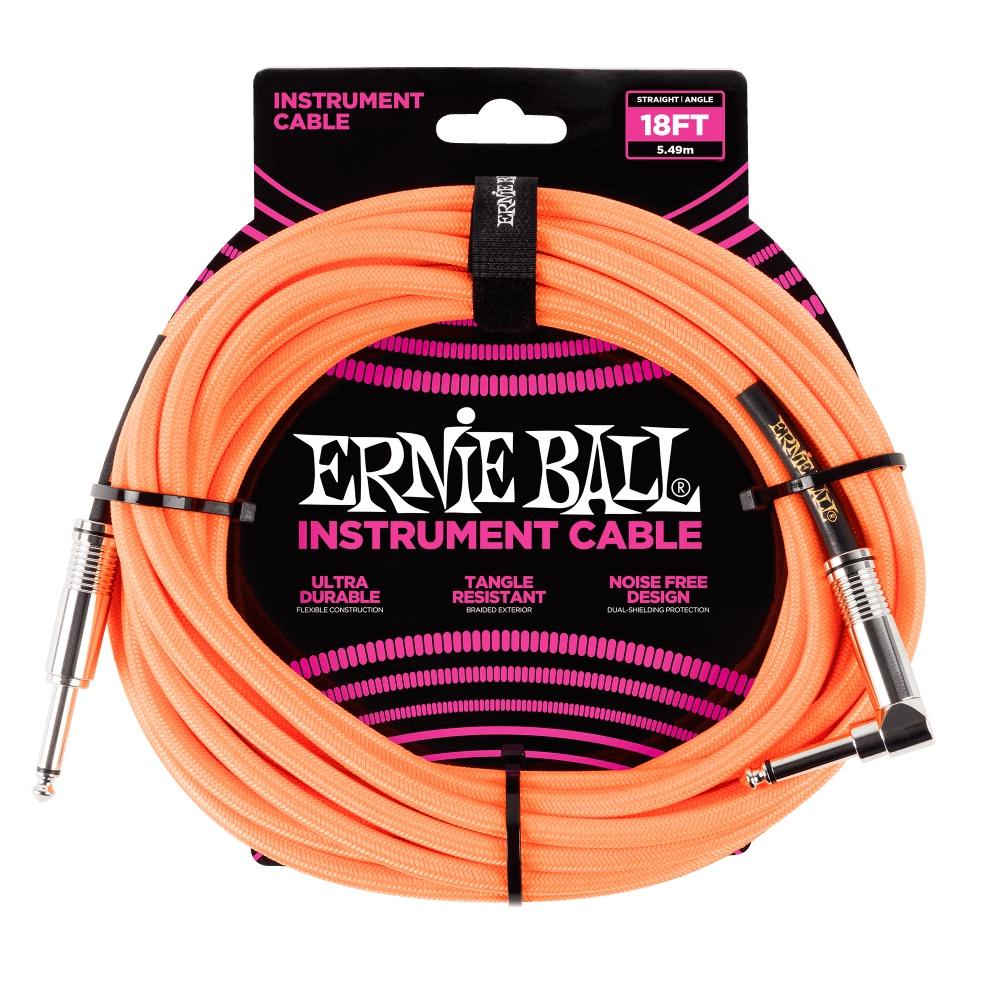 ERNIE BALL Instrumentenkabel, Gewebe, gerade/gewinkelt, neonorange, 5,5m