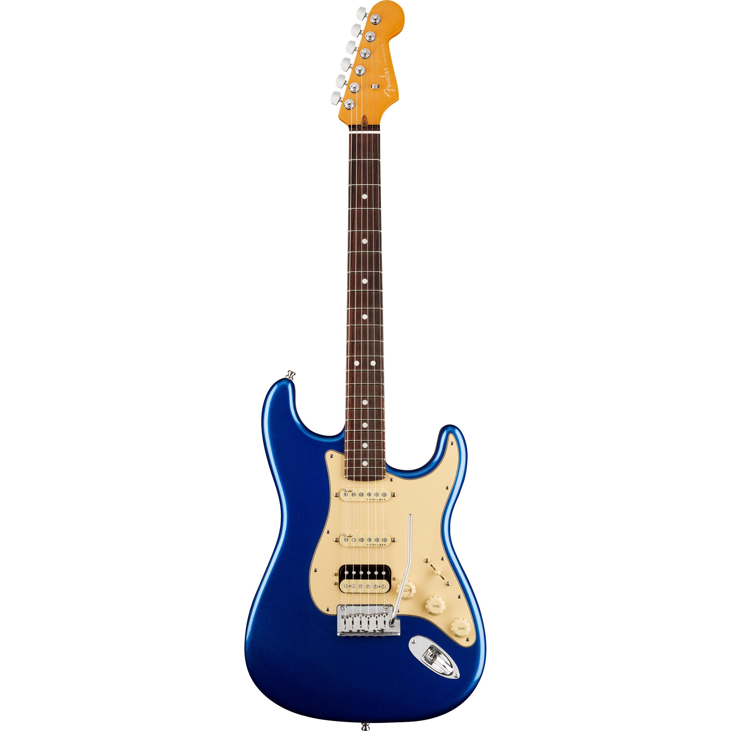 Fender American Ultra Stratocaster® HSS, Rosewood Fingerboard, Cobra Blue mit Koffer
